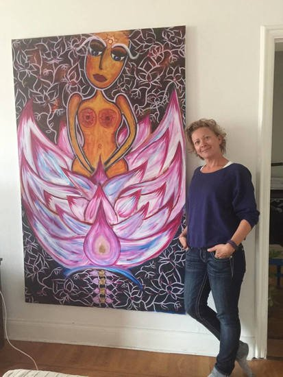 Lotus bloom painting annetje van der sluis art treniq 1 1512056487538
