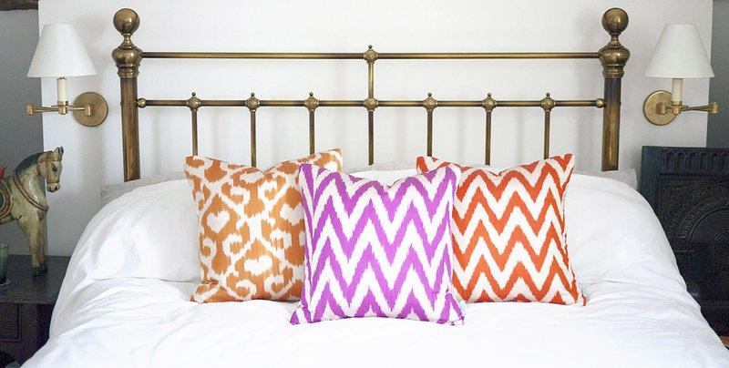 Neon pink jemima ikat cushion nomad design treniq 1 1512496096061