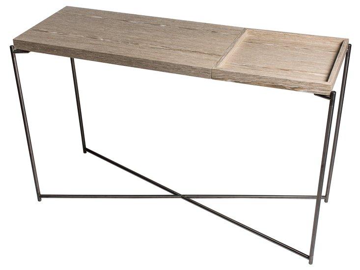 Iris large console table weathered oak top   small gunmetal tray gillmorespace limited treniq 1 1513169985907
