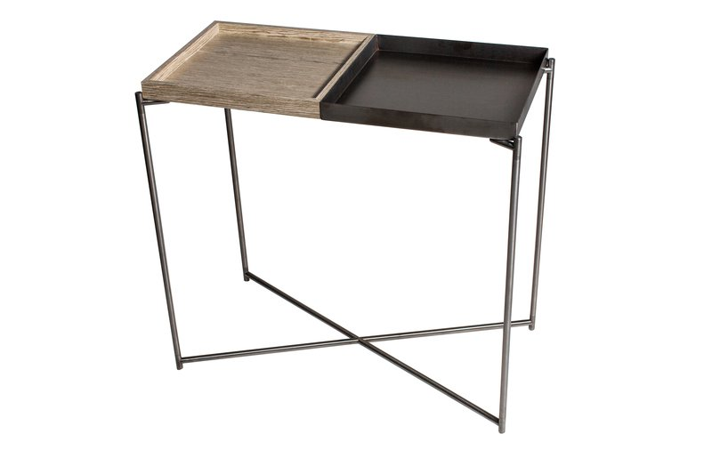 Iris small console table tray tops of weathered oak   gunmetal with gun metal frame gillmorespace limited treniq 1 1513171006197