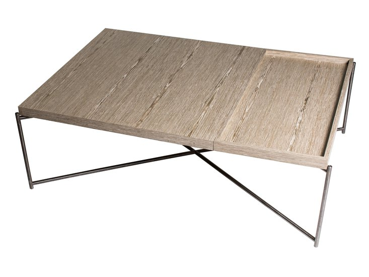 Iris rectangle coffee table weathered oak with weathered oak tray and gun metal frame gillmorespace limited treniq 1 1513171410273