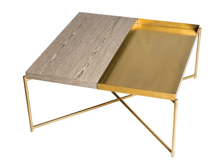 Iris square top coffee table weathered oak with brass tray and brass frame gillmorespace limited treniq 1 1513609482098