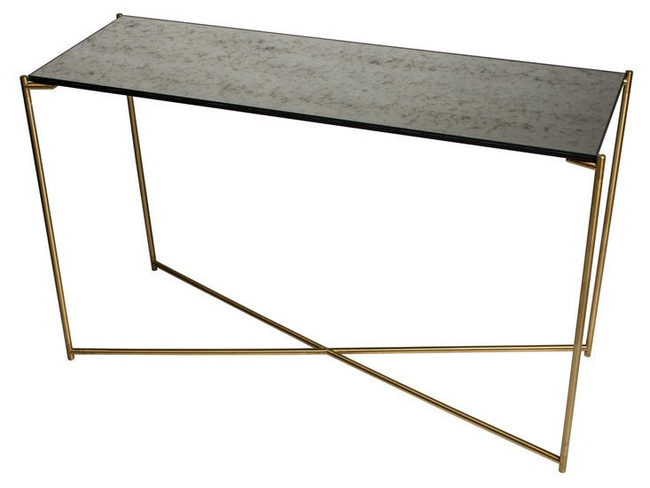 Iris large console table antiqued glass with brass frame gillmorespace limited treniq 1 1513609773589