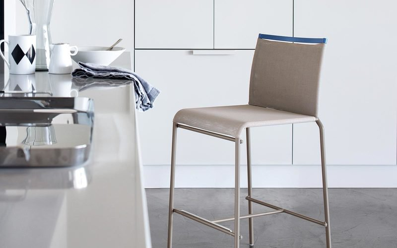 Web barstool by calligaris brown grey white metal contemporary