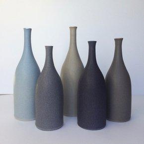 Ceramic-Bottle-Vases:-Blue-And-Grey_Lucy-Burley-Ceramics_Treniq_0
