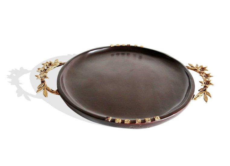 Dark brown round tray with floral handles avana africa treniq 1 1515842881009