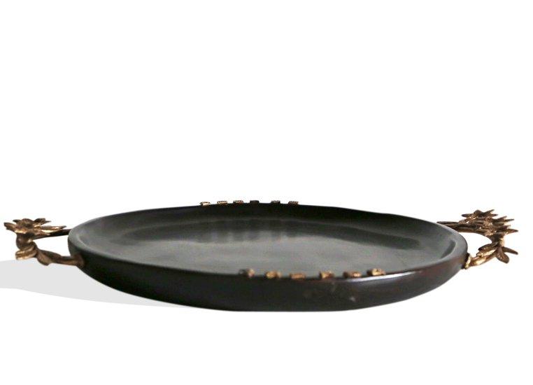 Dark brown round tray with floral handles avana africa treniq 1 1515842881003