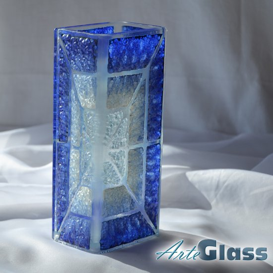 Vase blue white 20 cm square arteglass treniq 1 1516206030118