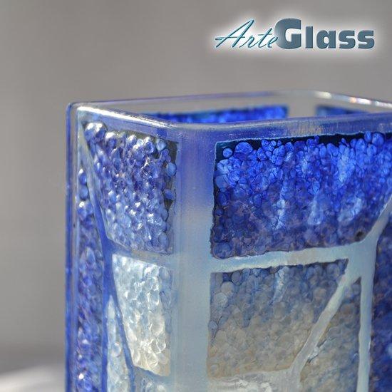 Vase blue white 20 cm square arteglass treniq 1 1516206030137