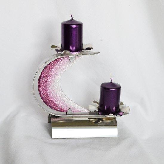 Candlestick %22c%22 stainless steel   violet glass arteglass treniq 3 1516293558671