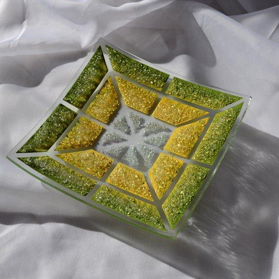 Bowl green yellow 20x20 shallow arteglass treniq 6 1516293877078