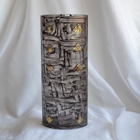 Vase-Brown-With-Gold-30-Cm-Rounded_Arte-Glass_Treniq_0