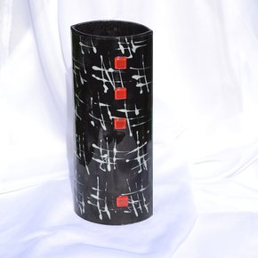 Vase-Black-White-30-Cm-Rounded_Arte-Glass_Treniq_0