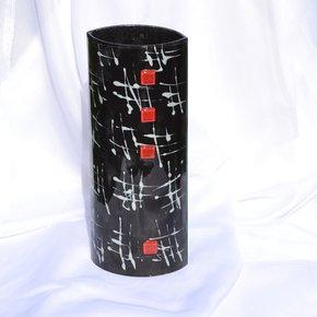 Vase-Black-White-30-Cm-Rounded_Arte-Glass_Treniq_0