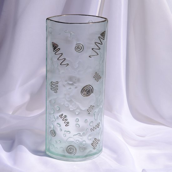 Vase clear with metal and oldplatinum 30 cm rounded arteglass treniq 7 1516295043168