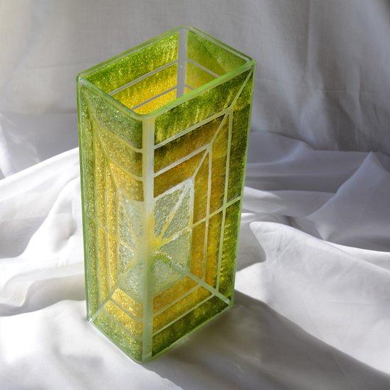 Vase green yellow 30 cm square arteglass treniq 5 1516295084202