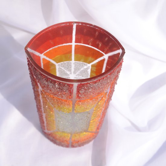 Vase orange yellow red 30 cm rounded arteglass treniq 7 1516295132981