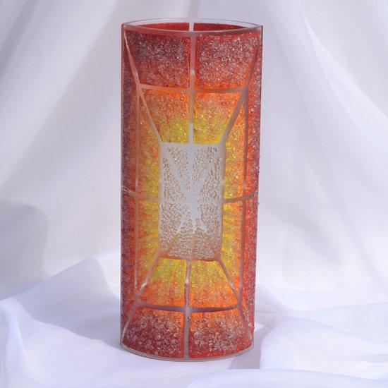 Vase orange yellow red 30 cm rounded arteglass treniq 7 1516295132971