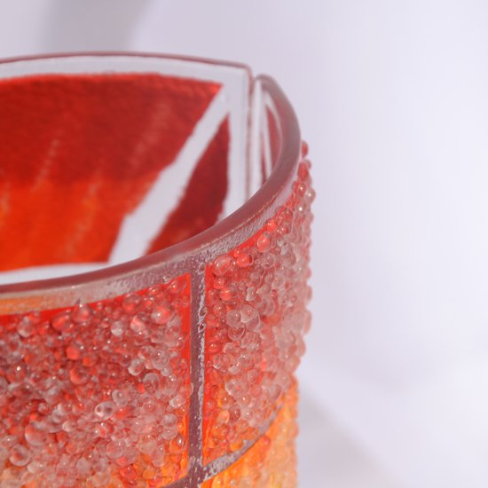 Vase orange yellow red 30 cm rounded arteglass treniq 7 1516295133037