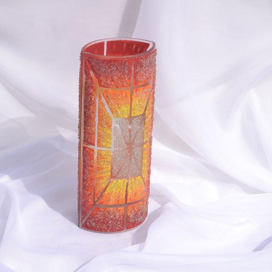 Vase orange yellow red 30 cm rounded arteglass treniq 7 1516295133017