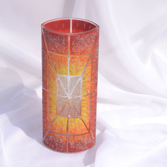 Vase orange yellow red 30 cm rounded arteglass treniq 7 1516295132977