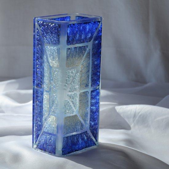 Vase blue white 20 cm square arteglass treniq 5 1516295181132