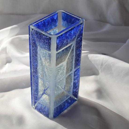 Vase blue white 20 cm square arteglass treniq 5 1516295181137