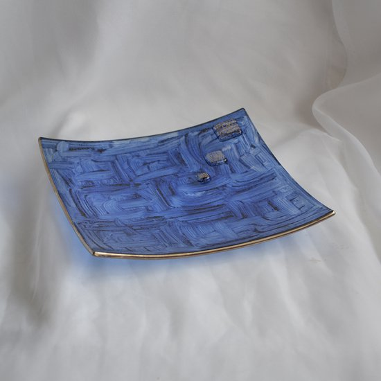 Bowl dark blue with oldplatinum 20x20 shallow arteglass treniq 7 1516295438471