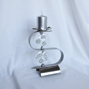 "Candlestick-""S""-Stainless-Steel-+-Clear-Glass_Arte-Glass_Treniq_0"