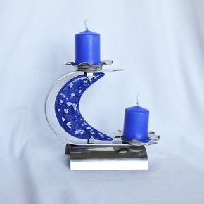 "Candlestick-""C""-Stainless-Steel-+-Blue-Glass_Arte-Glass_Treniq_0"