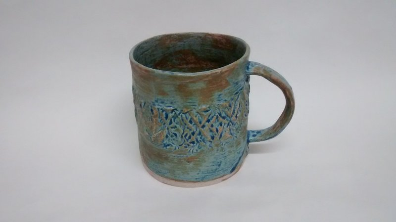 Matt blue cup with textured detail 109 ceramics treniq 1 1516749346258