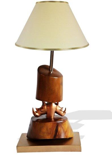 Bronze double head rhino lamp avana africa treniq 1 1516795646640