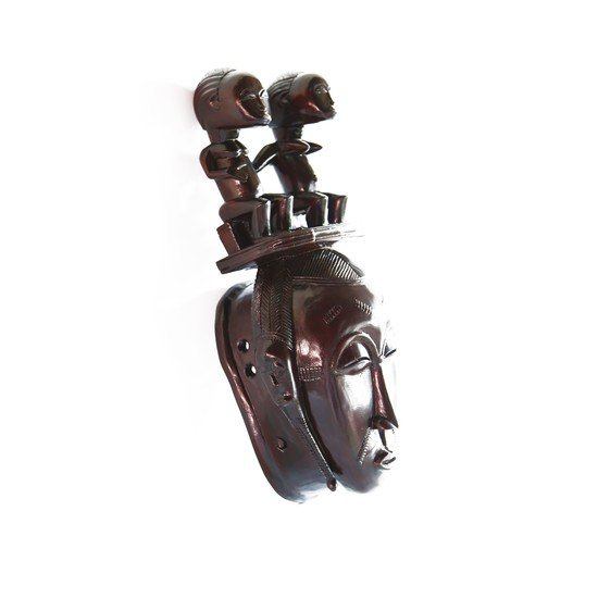 Mask baule with twin statues on headgear avana africa treniq 1 1516871532103