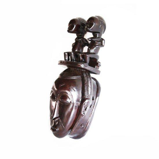 Mask baule with twin statues on headgear avana africa treniq 1 1516871532101