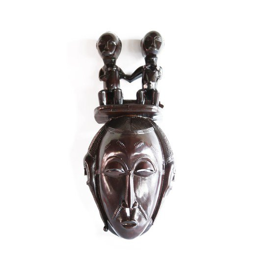 Mask baule with twin statues on headgear avana africa treniq 1 1516871532098
