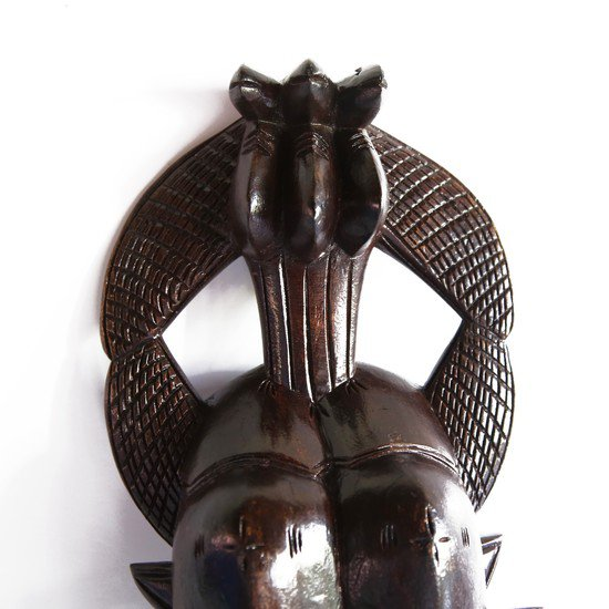 Double faced senoufu mask with 3 birds on headgear avana africa treniq 1 1516873851574