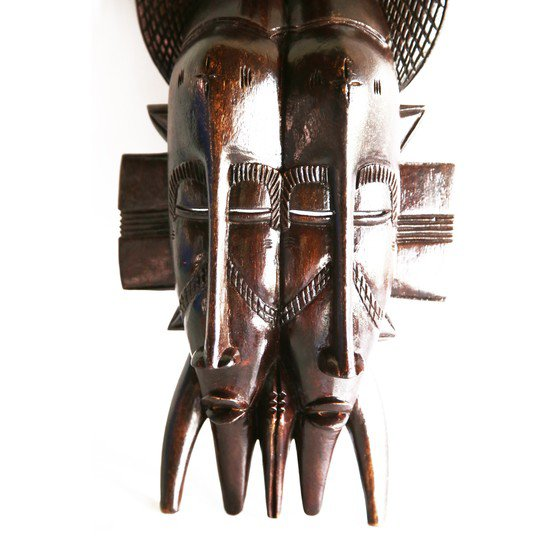 Double faced senoufu mask with 3 birds on headgear avana africa treniq 1 1516873851576