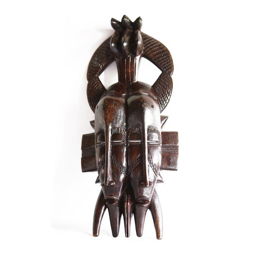 Double faced senoufu mask with 3 birds on headgear avana africa treniq 1 1516873851579
