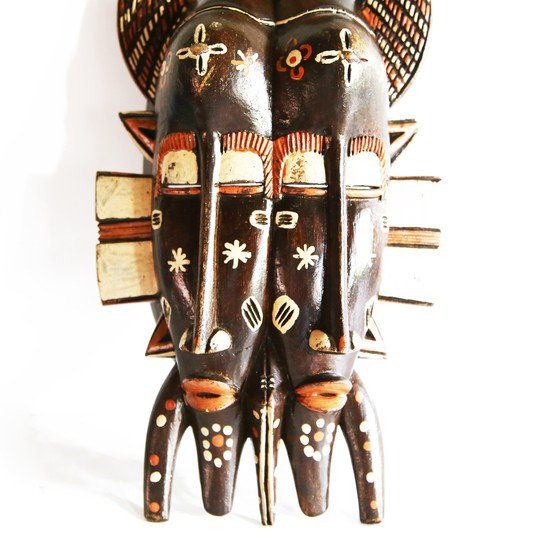 Handpainted distinctly cubist senoufu twin kpelie mask  avana africa treniq 1 1516874098722