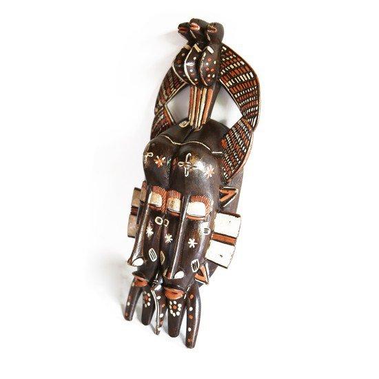 Handpainted distinctly cubist senoufu twin kpelie mask  avana africa treniq 1 1516874098714