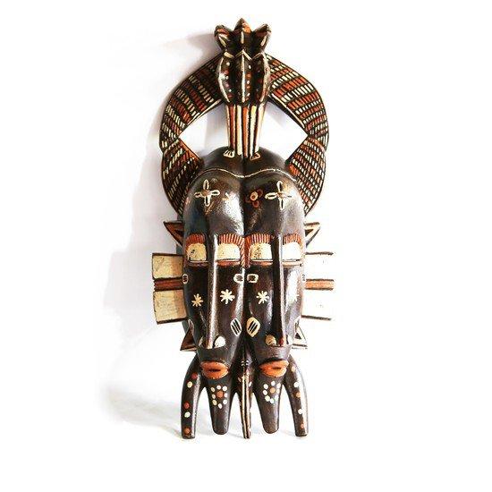 Handpainted distinctly cubist senoufu twin kpelie mask  avana africa treniq 1 1516874098727