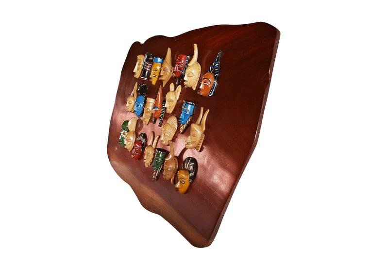 Wall display with linear small painted masks avana africa treniq 1 1516875874820
