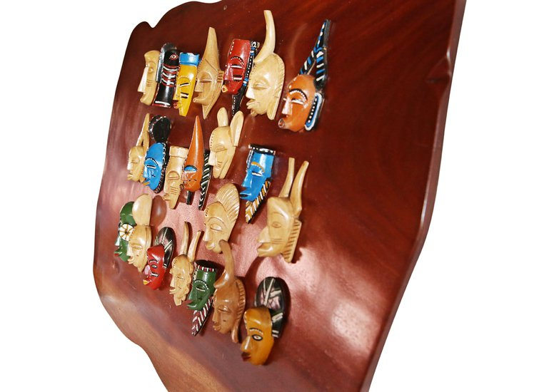 Wall display with linear small painted masks avana africa treniq 1 1516875874816