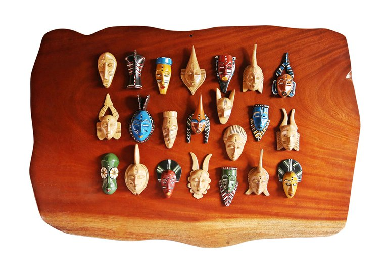 Wall display with linear small painted masks avana africa treniq 1 1516875874809