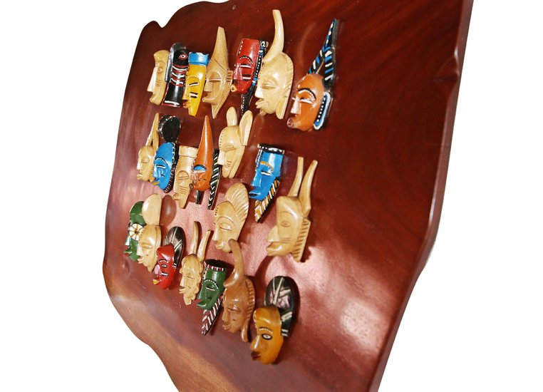 Wall display with linear small painted masks avana africa treniq 1 1516875874815