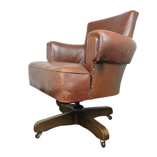 Whisky brown leather captains chair from hillcrest  1920s danielle underwood treniq 1 1517324567404
