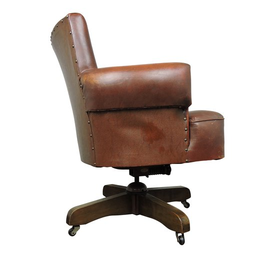 Whisky brown leather captains chair from hillcrest  1920s danielle underwood treniq 1 1517324567401