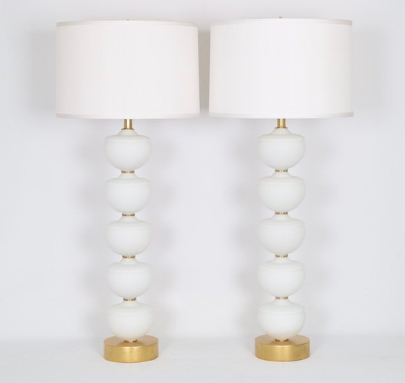 Midcentury stacked murano glass fonts lamps  a pair sergio jaeger treniq 1 1517938372427
