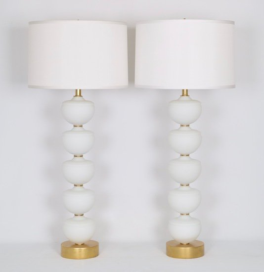 Midcentury stacked murano glass fonts lamps  a pair sergio jaeger treniq 1 1517938372428