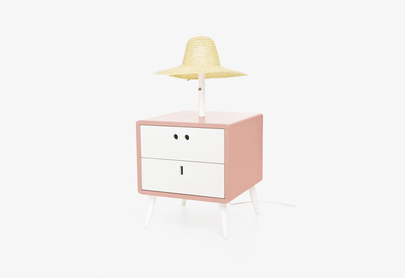 Maria bedside table with lamp   retro pink dam treniq 1 1518777706114